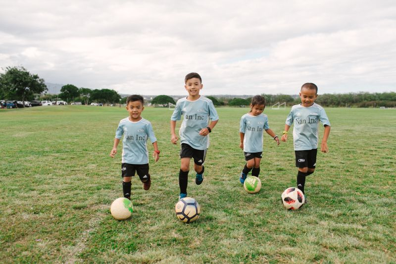 Ethan Kaneshiro (second from left) with his siblings who all play on Hawaii Rush Soccer Club