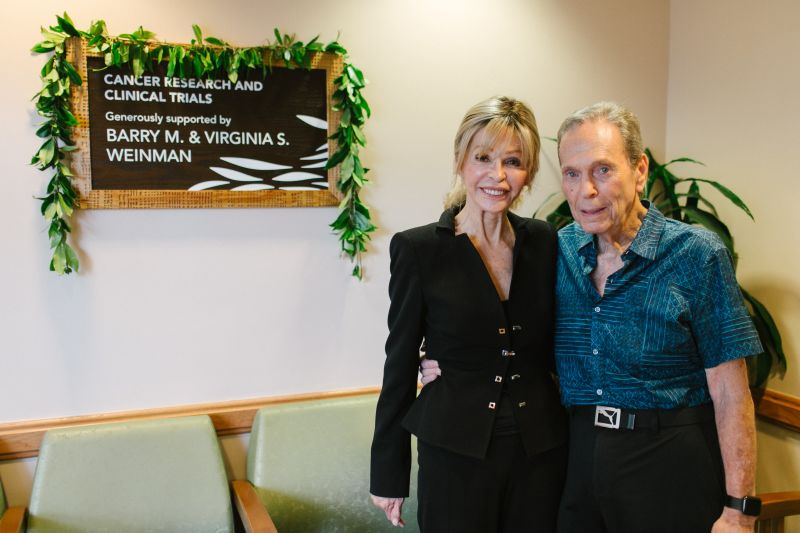 Barry and Virginia Weinman at the Straub Outpatient Treatment Center where the staff will conduct clinical trials funded by their donation
